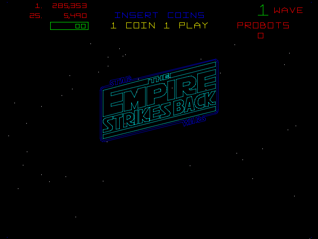 Empire Strikes Back Arcade Start Screen