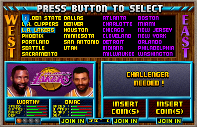 NBA Jam select screen