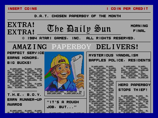 Paperboy Videogame By Atari Games