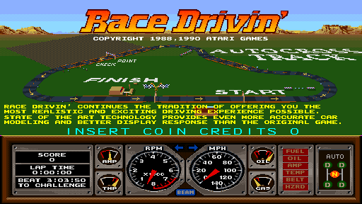 Race Drivin' Start Screen